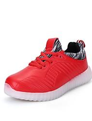 Недорогие -Жен. Обувь Полиуретан Весна Осень Обувь с подсветкой Спортивная обувь Для прогулок На плоской подошве Круглый носок Шнуровка LED для
