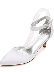 cheap -Women's Shoes Satin Spring / Summer Comfort / Mary Jane / D'Orsay & Two-Piece Wedding Shoes Kitten Heel / Cone Heel / Low Heel Pointed Toe