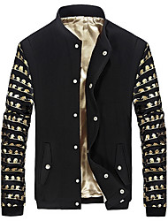 Men's Plus Size Casual/Daily Work Simple Vintage Spring Fall Jacket,Solid Notch Lapel Long Sleeve Regular Cotton