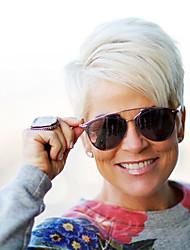 baratos -Nova forma criativa franja oblíqua curto cabelo cabeludo cabelo humano perucas