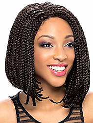 cheap -Synthetic Lace Front Wig Bob Haircut African Braids Braided Wig 100% kanekalon hair Middle Part Sew in Black Lace Front Capless Natural