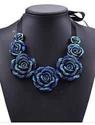 Women's Pendant Necklaces Rhinestone Circle Rose Flower Crystal SilkBasic Ribbons blue enchantress Bohemian Two-tone Adjustable Personalized