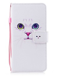 cheap -Case for iPhone 7 7 Plus Card Holder Wallet Flip White Cat Pattern Full Body Case Hard PU Leather for iPhone 6 6S 6 Plus 6s Plus 5 5S SE