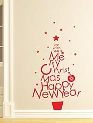 Недорогие -Рождество Слова и фразы Праздник Наклейки Простые наклейки Декоративные наклейки на стены Наклейки для туалета материал Украшение дома