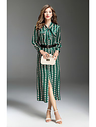 cheap -Women's Swing Dress Print Maxi Shirt Collar