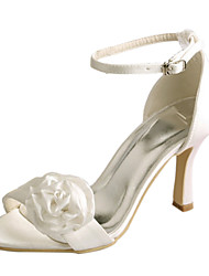 cheap -Women's Wedding Shoes Basic Pump Stretch Satin Summer Wedding Party & Evening Satin Flower Stiletto Heel Ivory Blushing Pink 3in-3 3/4in