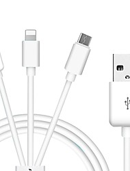 USB 2.0 Connect Cable, USB 2.0 to USB 2.0 Type C Micro USB 2.0 Lightning Connect Cable Male - Male 1.0m(3Ft)