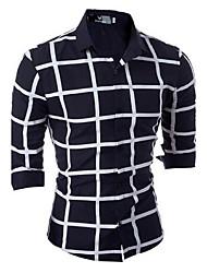 Men's Business Fashion Casual lattice Long-Sleeved Shirt