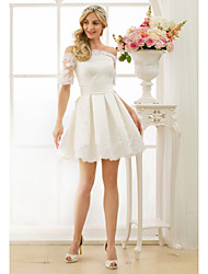 A-Line Princess Off-the-shoulder Short / Mini Satin Wedding Dress with Appliques Sashes/ Ribbons by LAN TING BRIDE®