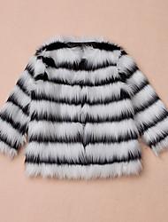 Giubbino e cappotto Da ragazza Pelliccia sintetica Tipi di pellicce speciali Rigato Inverno Manica lunga