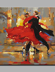Big Size Hand-Painted Dancing People Vertical Art Deco/Retro One Panel Canvas Oil Painting for Home Decoration