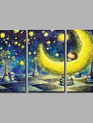 cheap -Hand-Painted Cartoon Horizontal Panoramic, Artistic Anime Active Cartoon Cool New Year's Christmas Canvas Oil Painting Home Decoration