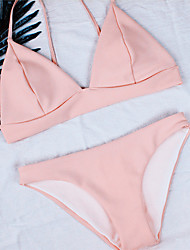 Women's Halter Bikini Plunging Neckline Solid Pink Color Swimwear Suits Bikini Sets