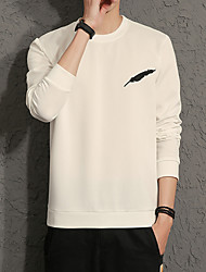 Men's Daily Plus Size Casual Sweatshirt Print Round Neck Micro-elastic Cotton Spandex Long Sleeve Spring Fall