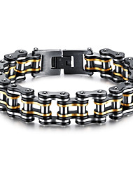 Excessive and exaggerated motorcycle chain black gold bicycle bracelet stainless steel hand ring rock