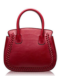 cheap -Women Bags Cowhide leatherette Tote Zipper for Casual Outdoor Fall All Seasons Red
