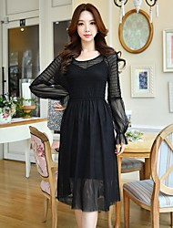 DABUWAWA Women's Party Holiday Going out Casual/Daily Work Club Sexy Vintage Sophisticated A Line DressSolid Round Neck Midi Long Sleeves