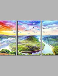 abordables -Pintada a mano Paisaje Artístico Rústico Cool Moderno/Contemporáneo Oficina/ Negocios Año Nuevo Navidad Tres Paneles LienzosPintura al
