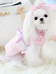 baratos -Cachorro Vestidos Roupas para Cães Princesa Azul / Rosa claro De Lã Ocasiões Especiais Para animais de estimação Casual