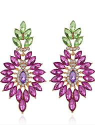 cheap -Women's Bohemian Rhinestone Rhinestone Drop Earrings - Flower Style Bohemian Basic Statement Purple Flower Earrings For Wedding Party