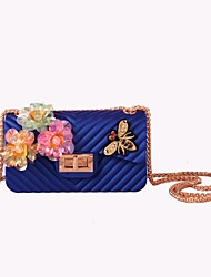cheap -Women's Bags Silica Gel Crossbody Bag Rhinestone for Wedding Event/Party Casual Formal Office & Career All Seasons Blue Green Black Red