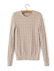 Standard Pullover Da donna-Per uscire Casual Semplice Romantico Tinta unita Girocollo Manica lunga Cotone Primavera Autunno SottileMedia