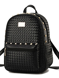 cheap -Women Bags PU Backpack Rivet for Casual Outdoor All Seasons White Black Blushing Pink Amethyst Wine