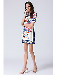 Women's Casual/Daily Going out Simple Chinoiserie Shift Sheath Dress,Print Round Neck Knee-length Short Sleeves Silk Summer Mid Rise