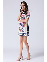Tubino Fodero Vestito Da donna-Casual Per uscire Semplice Stoffe orientali Con stampe Rotonda Al ginocchio Manica corta Seta Estate A