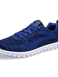 cheap -Men's Sneakers Light Soles Spring Fall Knit Casual Outdoor Lace-up Flat Heel Black Dark Blue Light Blue Flat