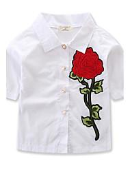 Недорогие -Девочки Рубашка Хлопок Цветок Однотонный Весна Лето Рукав ½ Обычный