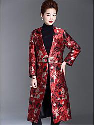 Damen Solide Druck Einfach Retro Ausgehen Lässig/Alltäglich Mantel,V-Ausschnitt Winter Lange Ärmel Lang Polyester