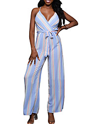 Women's High Rise Going out Casual/Daily Club JumpsuitsSimple Sexy Street chic Wide Leg Slim Backless Bow Striped Color Block Spring Summer
