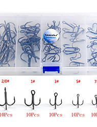 Anmuka Fishing Hook 50Pcs/Set 5 Sizes High Carbon Steel Silver Black Brown for Carp Fishing Hooks Box