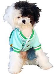 Cane Tuta Abbigliamento per cani Casual Lettere & Numeri Giallo Verde