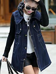 Veste en jean Femme,Couleur Pleine Sortie Décontracté / Quotidien simple Automne Hiver Manches longues Col Rond Claudine Longue Coton