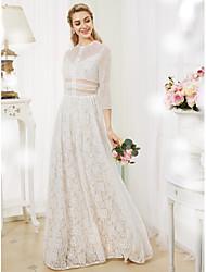 cheap -Sheath / Column Illusion Neckline Floor Length Lace Wedding Dress with Pleats by LAN TING BRIDE®
