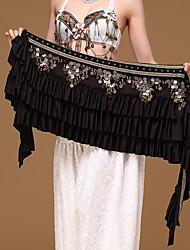 cheap -Belly Dance Hip Scarves Women's Performance Polyester Metal Paillette Chain Hip Scarf