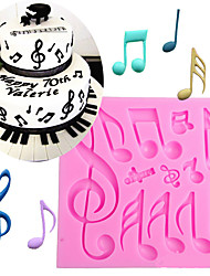 cheap -Music Notes Shape Silicone Mold For Fondant Cake Mold Bakware Tools Soap Mold Sugar Tool