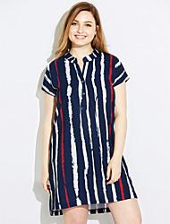 cheap -Women's Work Sheath Dress,Solid Striped V Neck Above Knee Short Sleeves Silk Spring Mid Rise Micro-elastic Medium