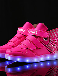 Girls' Sneakers Light Up Shoes Fall Winter Synthetic Microfiber PU Casual Magic Tape Flat Heel Gold White Fuchsia Flat