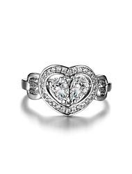 preiswerte -Damen Kubikzirkonia / Strass Kubikzirkonia / Silber Herz Bandring - Elegant / Modisch Silber Ring Für Hochzeit / Verlobung / Alltag