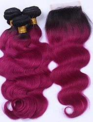 cheap -Brazilian Hair Body Wave Hair Weft with Closure Human Hair Weaves Black / Dark Wine Human Hair Extensions