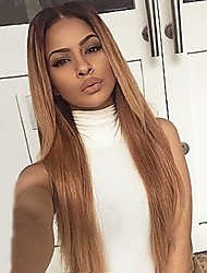 cheap -Human Hair Lace Front Wig / Glueless Lace Front Wig Straight 130% Density With Baby Hair / Ombre Hair / Natural Hairline Women's Long