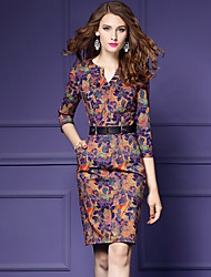 cheap -Women's Going out Vintage Sheath Above Knee Dress Print V Neck 3/4 Length Sleeves Fall