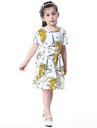 Girl's Cotton Fashion And Lovely Temperamental Gauze Kengpeng Harragu Cartoon Unicorns Princess Dress