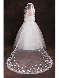 Uma Camada Borda com aplicação de Renda Véus de Noiva Véu Cotovelo Véu Capela Com Apliques Bordado Tule