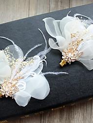 economico -stile elegante del copricapo della clip dei capelli dei fiori della lega della rete di seta della piuma del tulle