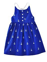 cheap -Girl's Print Dress,Cotton Summer Sleeveless Cartoon Blue