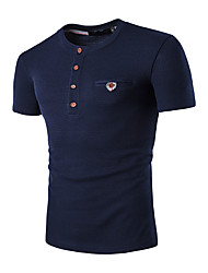 Men's Sports Going out Casual/Daily Simple Spring Summer T-shirt,Solid Round Neck Short Sleeves Cotton Medium